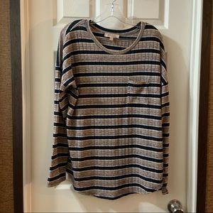 Philosophy Navy/Multicolor Striped Knit Top size L